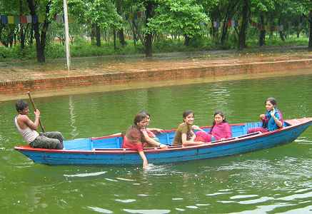 The girls in a Lumbini canal boat