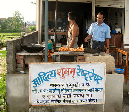 Donut stall - 				breakfast stop en route to Lumbini