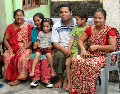 Shanta's family visited on the way home from Lumb ini